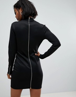 photo Scuba Blazer Wrap Dress with Long Zip Detail at Back by Club L, color Black - Image 2