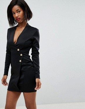 photo Scuba Blazer Wrap Dress with Long Zip Detail at Back by Club L, color Black - Image 1