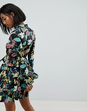 photo High Neck Floral Dress with Tiered Frill Detail by Club L, color Black/Yellow Print - Image 2