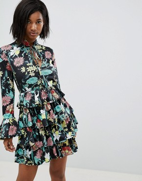 photo High Neck Floral Dress with Tiered Frill Detail by Club L, color Black/Yellow Print - Image 1