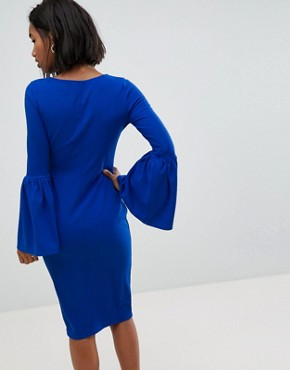 photo Pencil Dress with Extreme Frill Sleeve by Club L, color Cobalt Blue - Image 2
