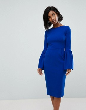 photo Pencil Dress with Extreme Frill Sleeve by Club L, color Cobalt Blue - Image 1