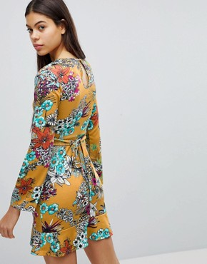 photo Mustard Floral Print Dress with Frill Wrap Over Skirt Detail by Club L, color Mustard Floral - Image 2