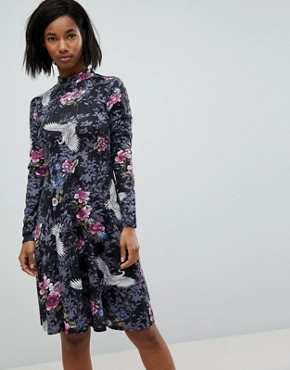 photo High Neck Long Sleeve Printed Dress with Button Open Back Detail by Club L, color Black Print - Image 2