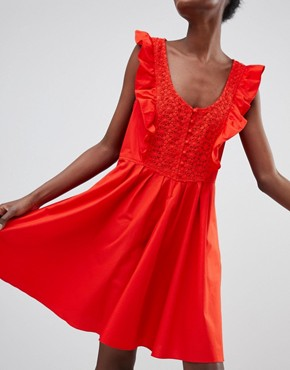 photo Half Moon Smock Dress by Free People, color Red - Image 1