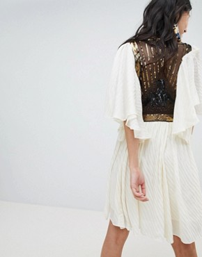 photo Moonglow Embellished Mini Dress by Free People, color Ivory - Image 2