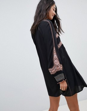 photo Wind Willow Embroidered Mini Dress by Free People, color Black - Image 2