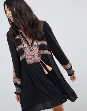 photo Wind Willow Embroidered Mini Dress by Free People, color Black - Image 1