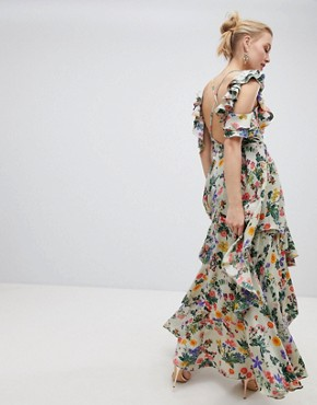 photo Floral Print Satin Ruffle Sleeve Maxi Dress with Dipped Hem by ASOS DESIGN, color Floral Print - Image 2