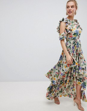 photo Floral Print Satin Ruffle Sleeve Maxi Dress with Dipped Hem by ASOS DESIGN, color Floral Print - Image 1
