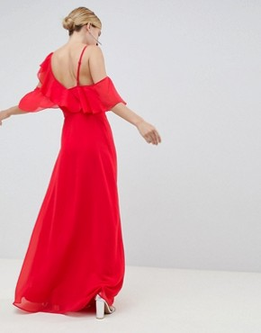 photo Wrap Maxi Dress with Ruffles by ASOS DESIGN, color Red - Image 2