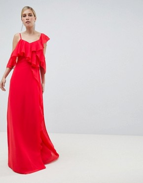photo Wrap Maxi Dress with Ruffles by ASOS DESIGN, color Red - Image 1