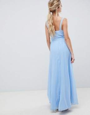 photo Cut Out Maxi Dress with Cami Straps by ASOS DESIGN, color Pastel Blue - Image 2