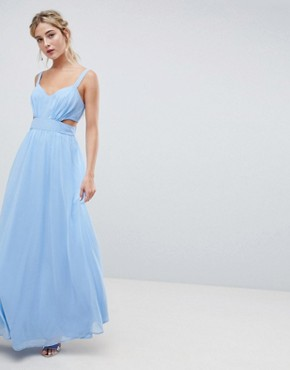 photo Cut Out Maxi Dress with Cami Straps by ASOS DESIGN, color Pastel Blue - Image 1