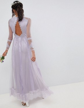 photo Bridesmaid Dobby Mesh and Lace Mix Long Sleeve Maxi Dress by ASOS DESIGN, color Lilac - Image 2