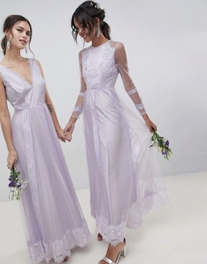 photo Bridesmaid Dobby Mesh and Lace Mix Long Sleeve Maxi Dress by ASOS DESIGN, color Lilac - Image 1