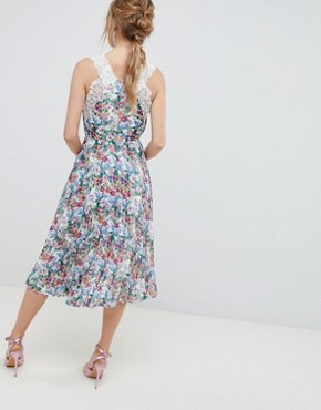 photo Pleated Midi Dress in Bright Floral with Lace Trims by ASOS DESIGN, color Floral Print - Image 2