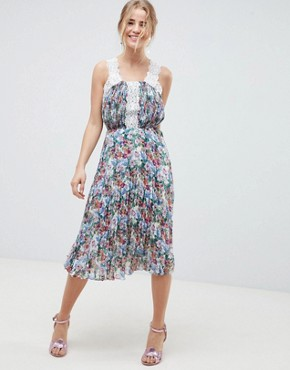 photo Pleated Midi Dress in Bright Floral with Lace Trims by ASOS DESIGN, color Floral Print - Image 1
