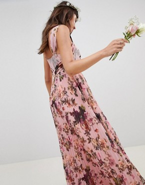 photo Pleated Sleeveless Maxi Dress in Pink Floral Print by ASOS DESIGN, color Pink Floral Print - Image 2