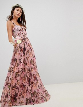 photo Pleated Sleeveless Maxi Dress in Pink Floral Print by ASOS DESIGN, color Pink Floral Print - Image 1