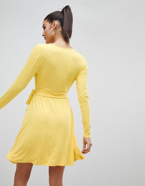 photo Wrap Front Jersey Skater Dress by Ivyrevel, color Yellow - Image 2