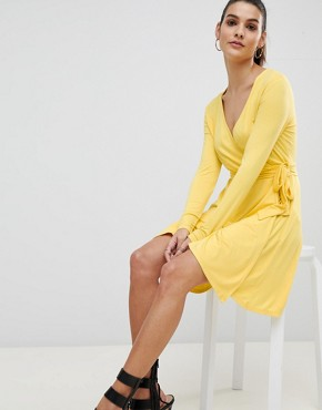 photo Wrap Front Jersey Skater Dress by Ivyrevel, color Yellow - Image 1