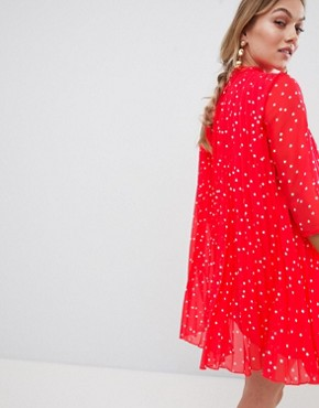 photo Pleated High Neck Mini Dress in Star Print by ASOS DESIGN Petite, color Red - Image 2
