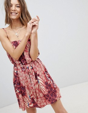 photo Printed Cami Dress with Tie Waist and Ruffle Trim by Minkpink, color Multi - Image 1