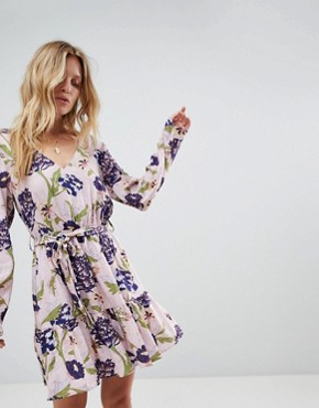 photo Floral Printed Wrap Dress by Minkpink, color Multi - Image 1