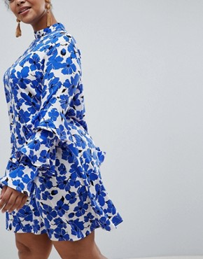 photo Floral Tiered Sleeve Dress by AX Paris Plus, color Blue Floral - Image 2