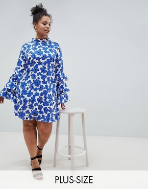 photo Floral Tiered Sleeve Dress by AX Paris Plus, color Blue Floral - Image 1