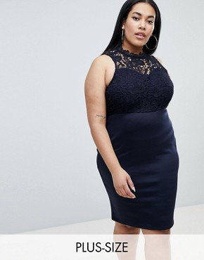 photo Lace Panel Pencil Dress by AX Paris Plus, color Navy - Image 1