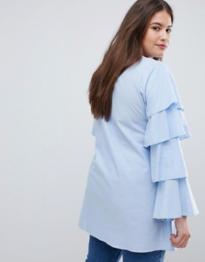 photo Tiered Sleeve Tunic Dress by AX Paris Plus, color Light Blue - Image 2