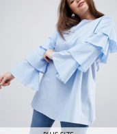 photo Tiered Sleeve Tunic Dress by AX Paris Plus, color Light Blue - Image 1
