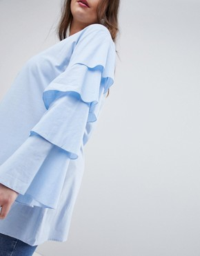 photo Tiered Sleeve Tunic Dress by AX Paris Plus, color Light Blue - Image 3