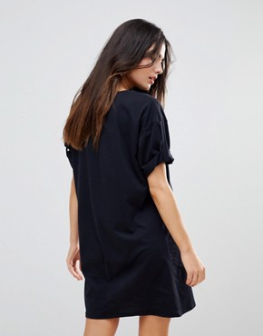 photo Rolled Sleeve T-Shirt Dress with Tab by ASOS ULTIMATE, color Black - Image 2