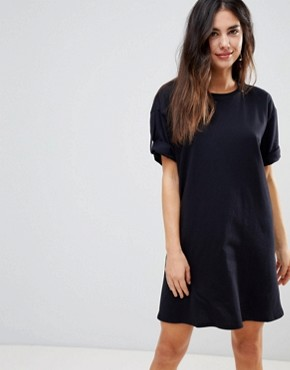 photo Rolled Sleeve T-Shirt Dress with Tab by ASOS ULTIMATE, color Black - Image 1