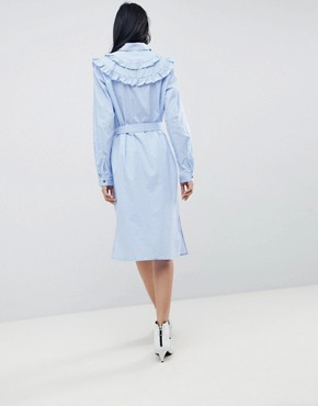 photo Tam Stripe Shirt Dress with Ruffle Details by Gestuz, color Dark Blue/White Stripe - Image 2