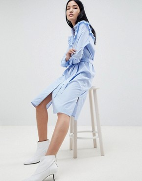 photo Tam Stripe Shirt Dress with Ruffle Details by Gestuz, color Dark Blue/White Stripe - Image 1