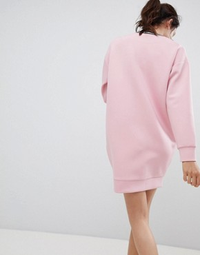 photo Scuba Cocoon Sweat Dress with Rib Trim by ASOS DESIGN, color Pink - Image 2