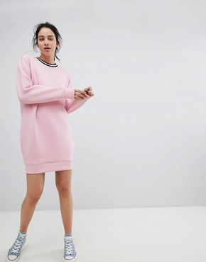 photo Scuba Cocoon Sweat Dress with Rib Trim by ASOS DESIGN, color Pink - Image 1