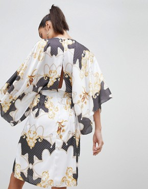 photo Wrap Front Satin Midi Dress with Kimono Sleeve in Print by Flounce London, color Mono Multi - Image 2
