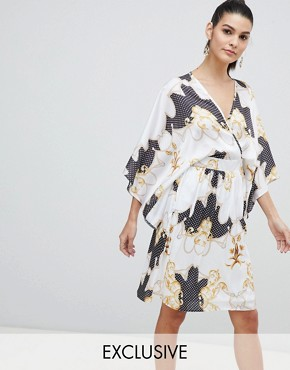 photo Wrap Front Satin Midi Dress with Kimono Sleeve in Print by Flounce London, color Mono Multi - Image 1
