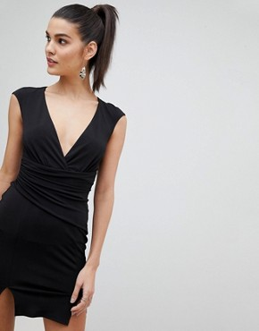 photo Wrap Front Bodycon Mini Dress with Double Splits by Flounce London, color Black - Image 1