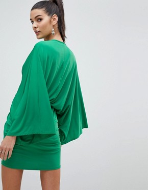 photo Wrap Front Kimono Mini Dress by Flounce London, color Green - Image 2