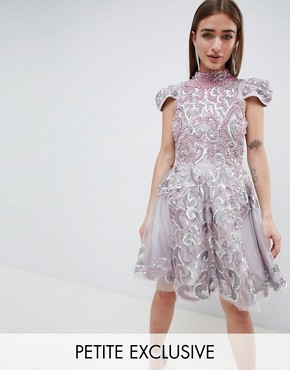 photo Mini Skater Dress with Cap Sleeve by A Star Is Born Petite, color Pink - Image 1