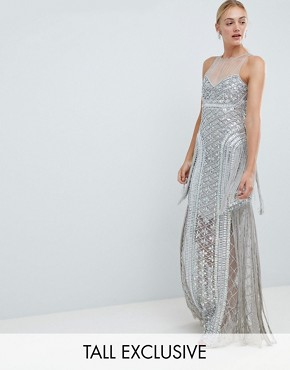 photo Embellished Maxi Dress with Iridescent Sequins by A Star Is Born Tall, color Silver - Image 1