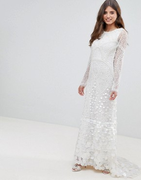 photo Bridal Embellished Maxi Dress with Fishtail by A Star Is Born, color White - Image 2