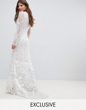 photo Bridal Embellished Maxi Dress with Fishtail by A Star Is Born, color White - Image 1