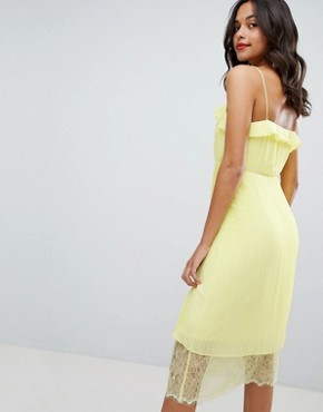 photo Pleated Ruffle Dress with Lace Hem by Vila, color Yellow Iris - Image 2